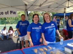 My friends, Gary and Jackie Pinkston, and their friend, Alma Lorch, serving pie.