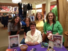 A recent signing at Coldwater Creek in Jordan Creek Mall, West Des Moines, IA. From left, Leslie Grefe, Mary Ann Hills, Me, Kathy Roat, and Sue Varley.