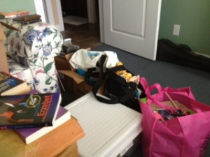 There's a bit of a path around the various bags filled with goodies.